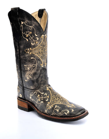 Corral Boots Womens Leather Circle G Crackle Brown Diamond Cowgirl