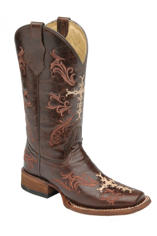 Corral Boots Womens Leather Circle G Cross Chocolate Sq Toe Cowgirl