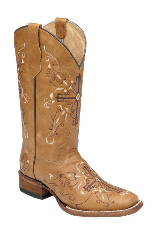 Corral Boots Womens Leather Circle G Cross Antique Saddle Cowgirl