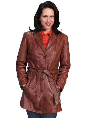 Scully Leather Womens Classic Knee Length Belted Lamb Coat Antique Brown