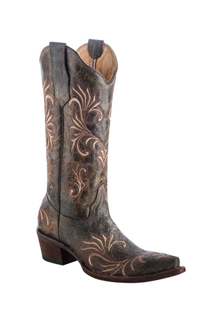 Circle G Ladies Antique Brass Cowhide Leather Cowgirl Boots