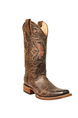 Circle G Ladies Embroidery Brown Cowhide Leather Cowgirl Boots