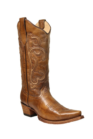 Circle G Ladies Embroidery Turquoise Cowhide Leather Cowgirl Boots