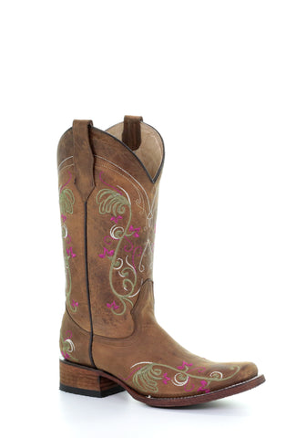 Circle G Ladies Embroidery Tan Cowhide Leather Cowgirl Boots