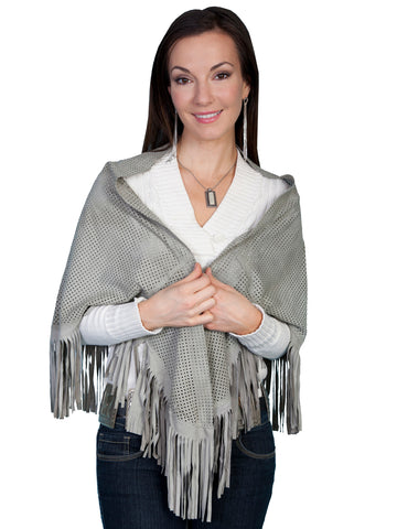 Scully Leatherwear Womens Grey Lamb Suede Fringe Perforated Shawl ONE