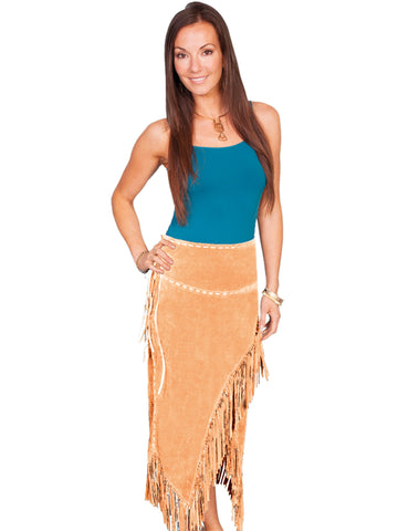 Scully Leather Womens Long Suede Tie Side Fringe Skirt Old Rust