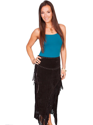 Scully Leather Womens Long Boar Suede Tie Side Fringe Skirt Black