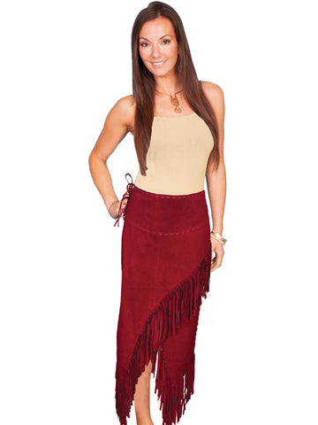 Scully Leather Womens Long Boar Suede Tie Side Fringe Skirt Red