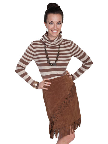 Scully Leatherwear Womens Cinnamon Boar Suede Leather Fringe Skirt