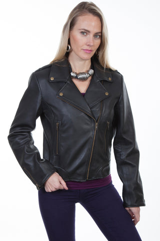 Scully Womens Black Lambskin Motorcycle Jacket