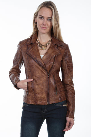 Scully Womens Brown Leather Sanded Jacket