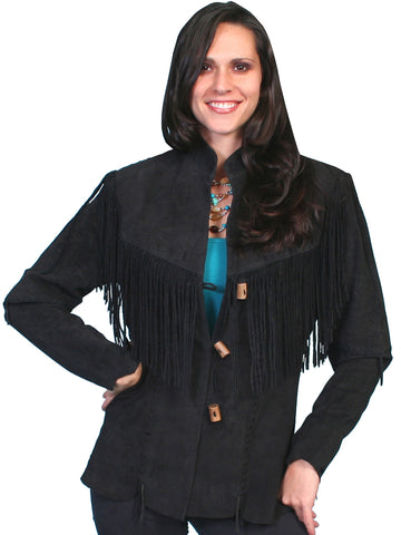 Scully Leatherwear Womens Black Boar Suede Toggle Fringe Jacket