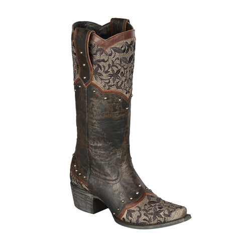 Lane Boots Womens Leather Kimmie Black Embroidered Studded Cowgirl