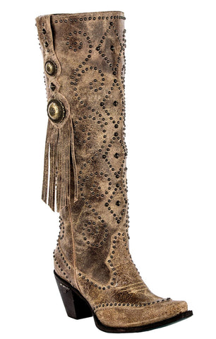 Lane Boots Womens Tan Leather Conchita Stud Fringe Cowgirl