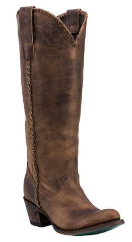 Lane Boots Womens Brown Leather Plain Jane Braided Cowgirl