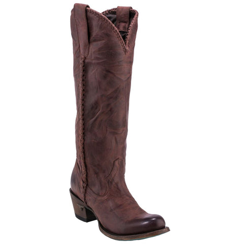 Lane Boots Womens Wine Leather Plain Jane Braided Cowgirl