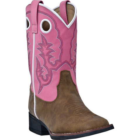 Laredo Childrens Pink Faux Leather Girls Mahaska Buckaroo Cowboy Boots