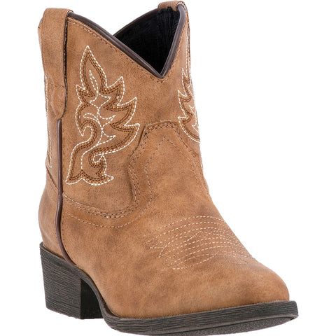 Laredo Childrens Girls Tan Chloe Faux Leather Cowboy Boots