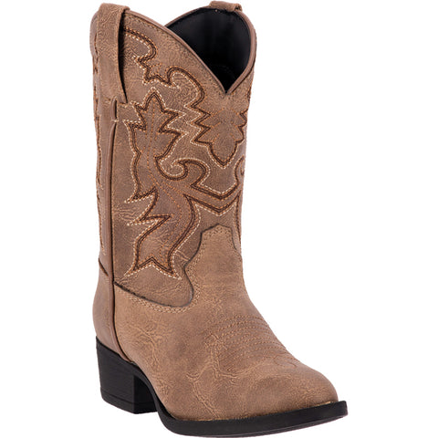 Laredo Childrens Boys Taupe R Toe Faux Leather Cowboy Boots
