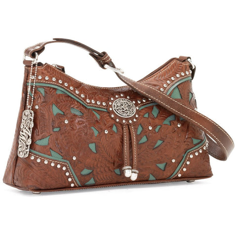 American West Lady Lace Zip Top Shoulder Bag Antique Brown Leather Cutout Tooled