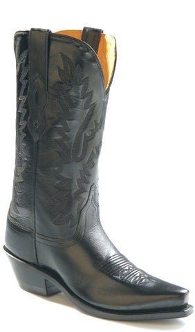 Old West Black Womens All Leather Snip Toe 12in Cowboy Western Boots