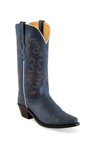 Old West Denim Blue Womens Leather Cowboy Boots