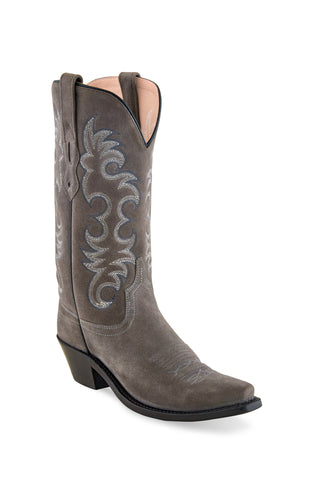 Old West Light Grey Womens Leather 12in Cowboy Boots