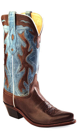 Old West Dark Brown Womens Barnwood Leather 12in Snip Toe Cowboy Boots