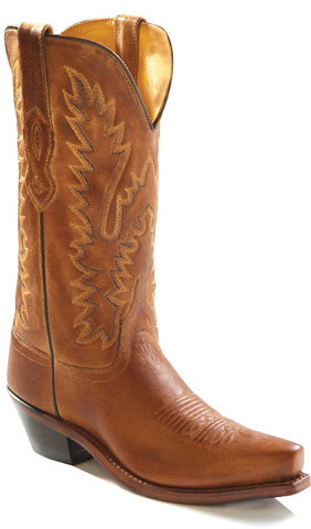 Old West Tan Canyon Womens All Leather Snip Toe 12in Shaft Cowboy Boots