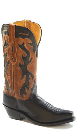 Old West Tan Canyon Womens All Leather 12in Snip Toe Inlay Cowboy Boots