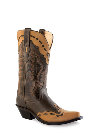 Old West Brown Womens Fancy Overlay Leather Cowboy Western Boots