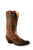 Old West Brown Womens Overlay Leather 12in Fancy Cowboy Boots Boots