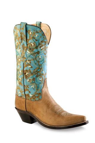 Old West Turquoise Womens Fancy Stitch Snip Toe Cowboy Western Boots
