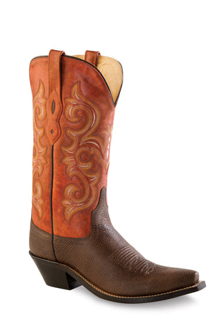 Old West Orange Womens Fancy Stitch Snip Toe Cowboy Western Boots