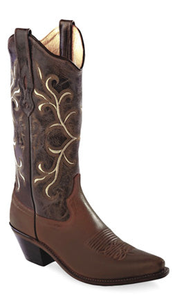 Old West Brown Womens All Leather 12in Snip Toe Fancy Stitch Cowboy Boots 5.5 B
