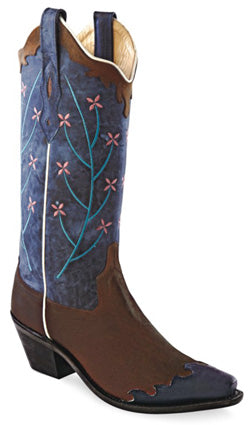 Old West Blue Womens Oily Leather 12in Snip Toe Wingtip Cowboy Boots