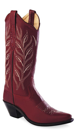 Old West Red Womens All Over Leather 12in Stitch Snip Toe Cowboy Boots