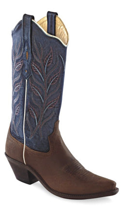 Old West Blue Womens Oily Leather 12in Fancy Stitch Snip Toe Cowboy Boots