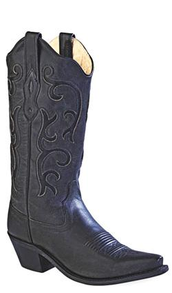 Old West Black Womens All Over Leather 12in Snip Toe Stitch Cowboy Boots 7.5 B