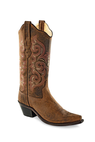 Old West Brown Womens Leather Snip Toe Cowboy Western Boots Boots