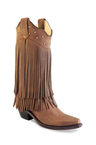 Old West Tan Womens Leather 12in Fringe Fashion Boots