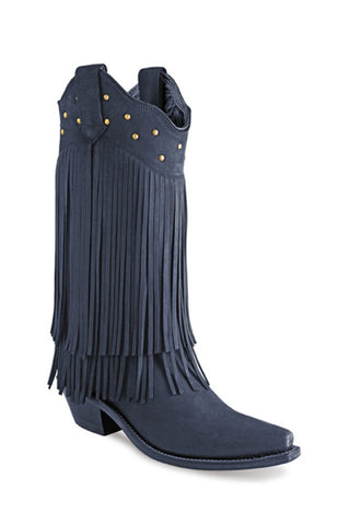 Old West Black Womens Leather 12in Fringe Fashion Boots