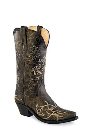 Old West Dark Brown Womens Leather 12in Cowboy Boots