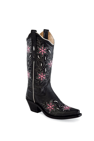 Old West Black Womens Leather Floral Cowboy Boots