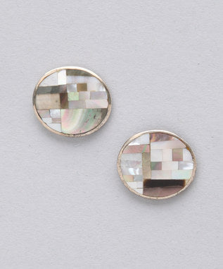 Sidran Grey Sterling Silver Round Shaped Earrings Multi Colored Shell