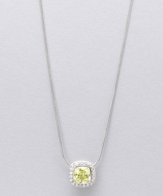 Sidran Green Sterling Silver Pendant Cubic Zirconia Center Stone