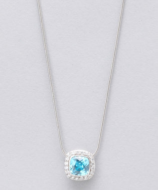 Sidran Blue Sterling Silver Pendant Cubic Zirconia Center Stone