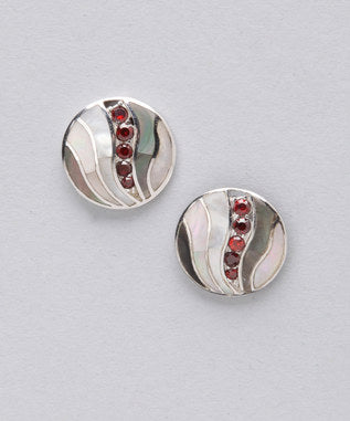 Sidran Red Sterling Silver Earrings Colored Shell Coffee Cubic Zirconia