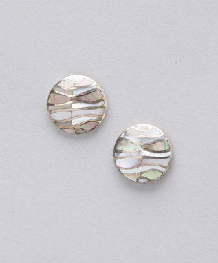 Sidran Grey Sterling Silver Earrings Multi Colored Shell Collection