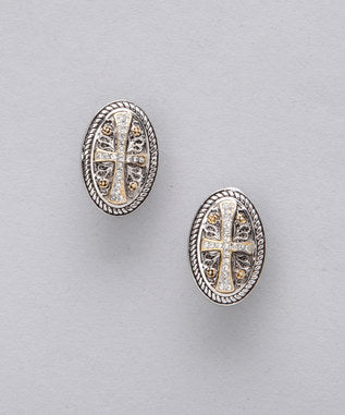 Sidran Gray Sterling Silver Earrings Two Tone Cross with Clear CZ Stones